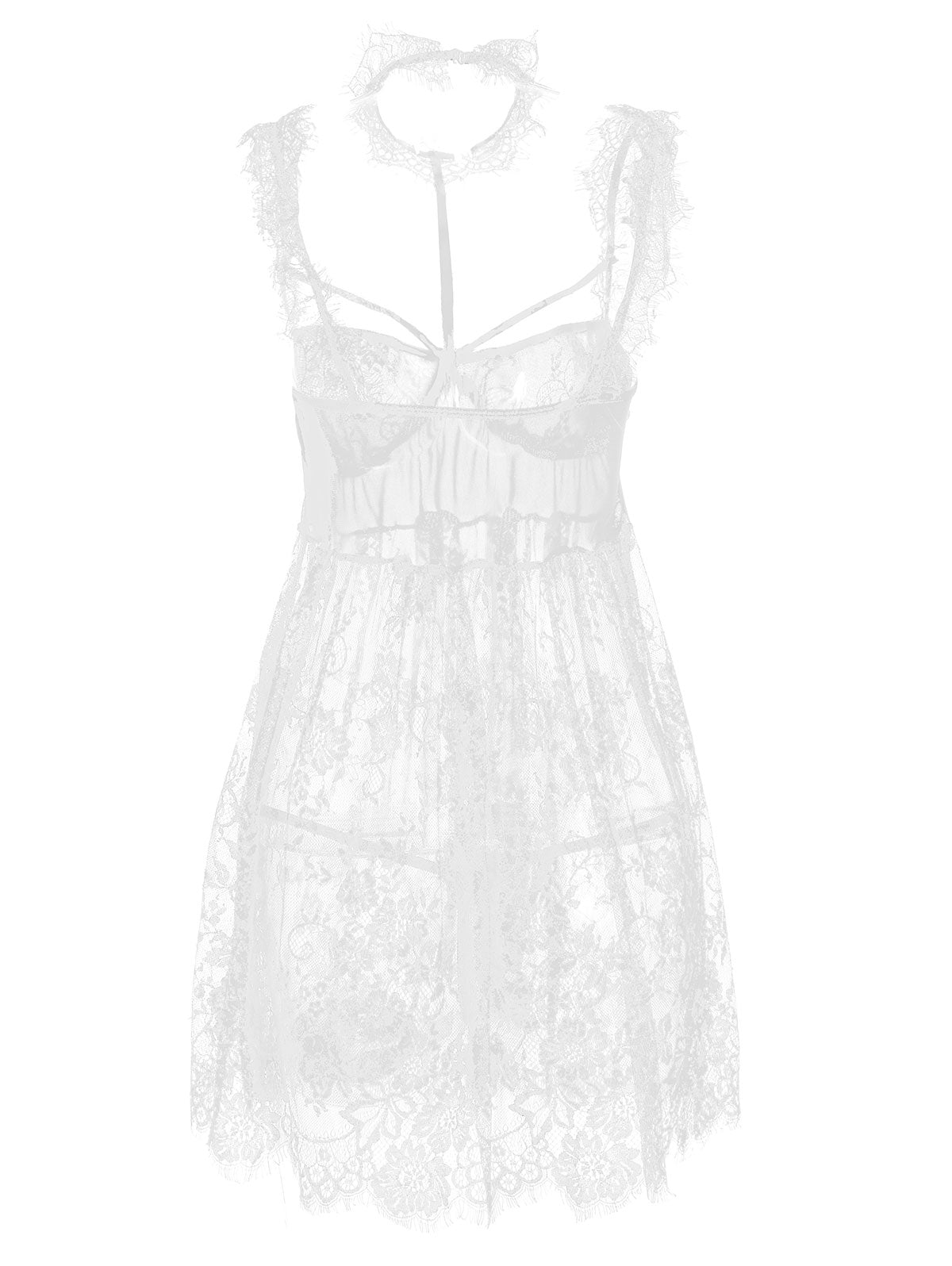 See Thru Lace Choker Lingerie Dress