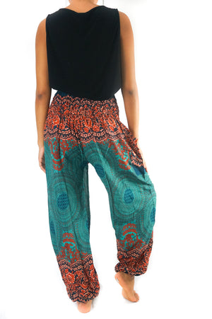 Harem Pants/      Teal Orange Mandala for Women