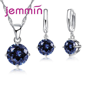 8 Colour AAA Crystal 925 Sterling Silver Pendants Earring Necklace Set for Women/jewelery set