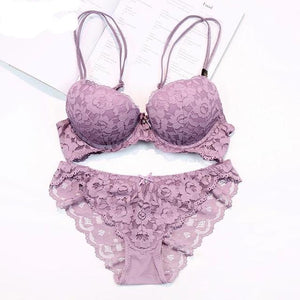 Push Up Bra Set  Thick Cotton Women Underwear Set Lace Blue Embroidery Flowers