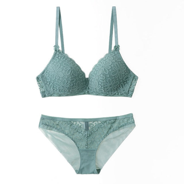 Lace Triangle cup Bra  and Underwear  Set for women