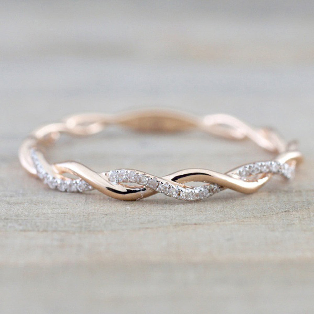 Rose Gold Color Twist Classical Cubic Zirconia Wedding Engagement Ring for Woman