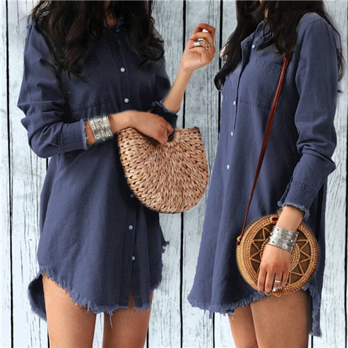 Fashion Autumn Women Dress/ Lady Long Sleeve Denim Shirt Dress/Tassels Loose Party Clothes