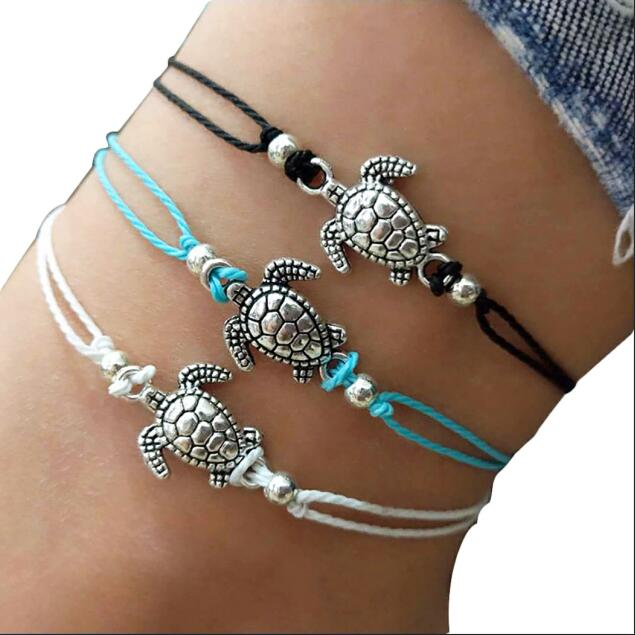 Vintage Shell Beads Starfish Sea Turtle Anklets For Women