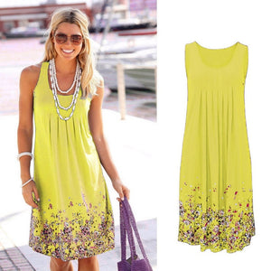 Sleeveless Floral Print Loose Dress Fashion /Six Colors Casual Women Dress