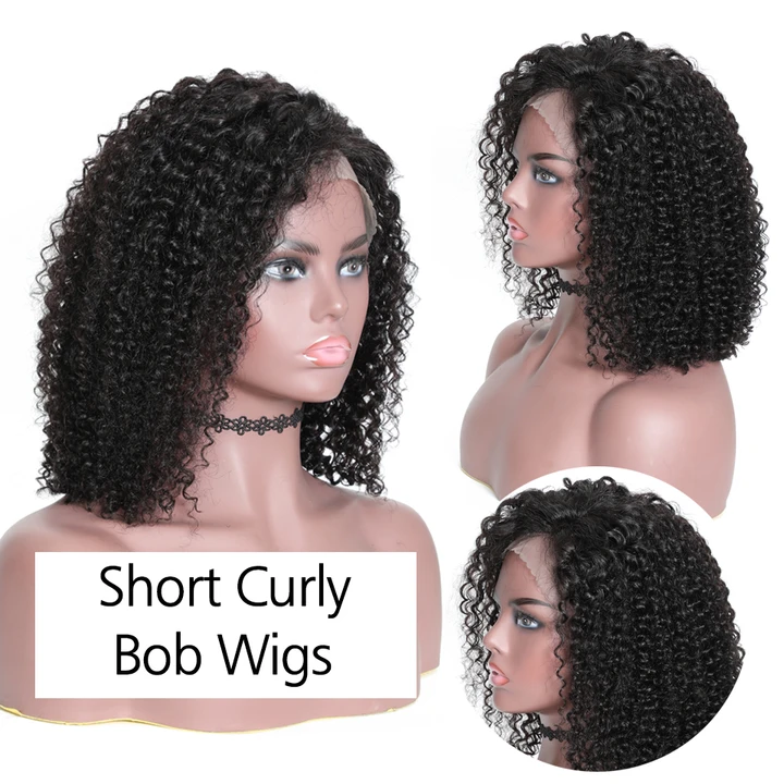 CiCiWig®|  Virgin Human Hair Lace Front Wig(Hand-Tied) | Bob Curly Wig | Black Wig