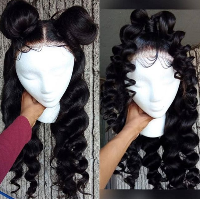 CiCiWig®| Human Hair Lace Black/Brown Wave Wig (Hand-Tied)