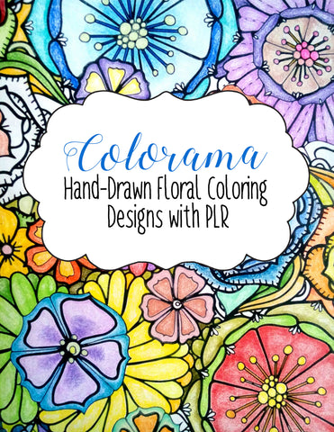 30 Hand-drawn Floral Coloring Designs with PLR