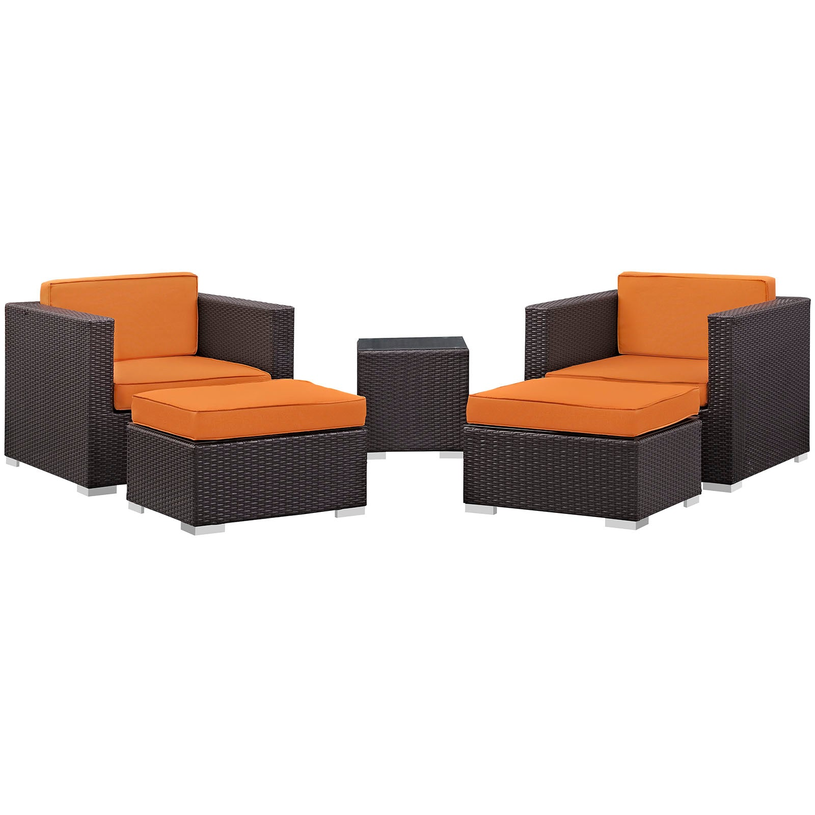 Modway Convene 5 Piece Outdoor Patio Sectional Set in Espresso Orange