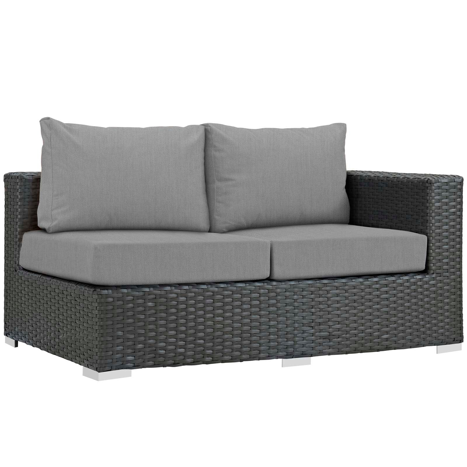 Modway Sojourn Outdoor Patio Sunbrella® Right Arm Loveseat in Canvas Gray