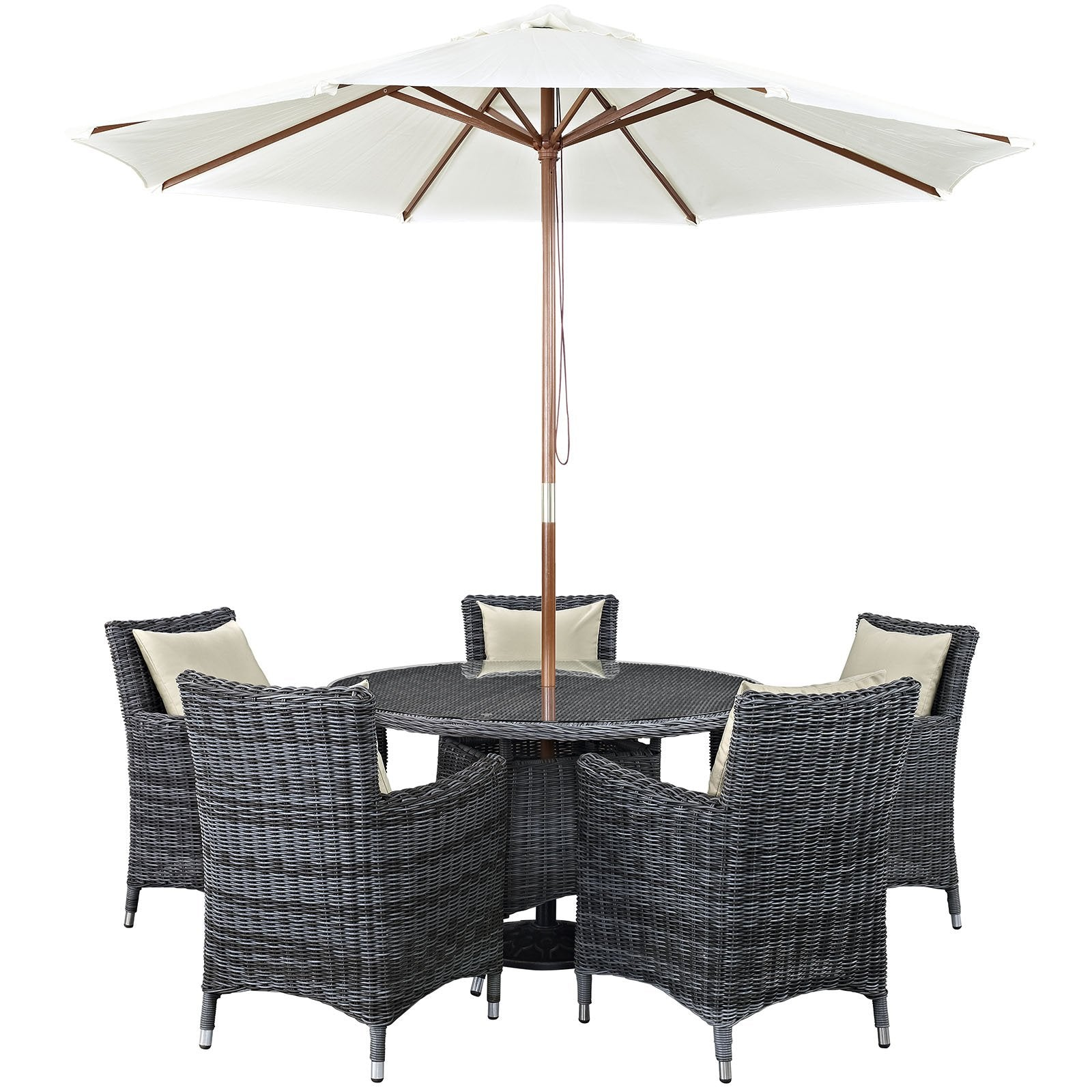 East End Imports Summon 7 Piece Outdoor Patio Sunbrella® Dining Set in Antique Canvas Beige