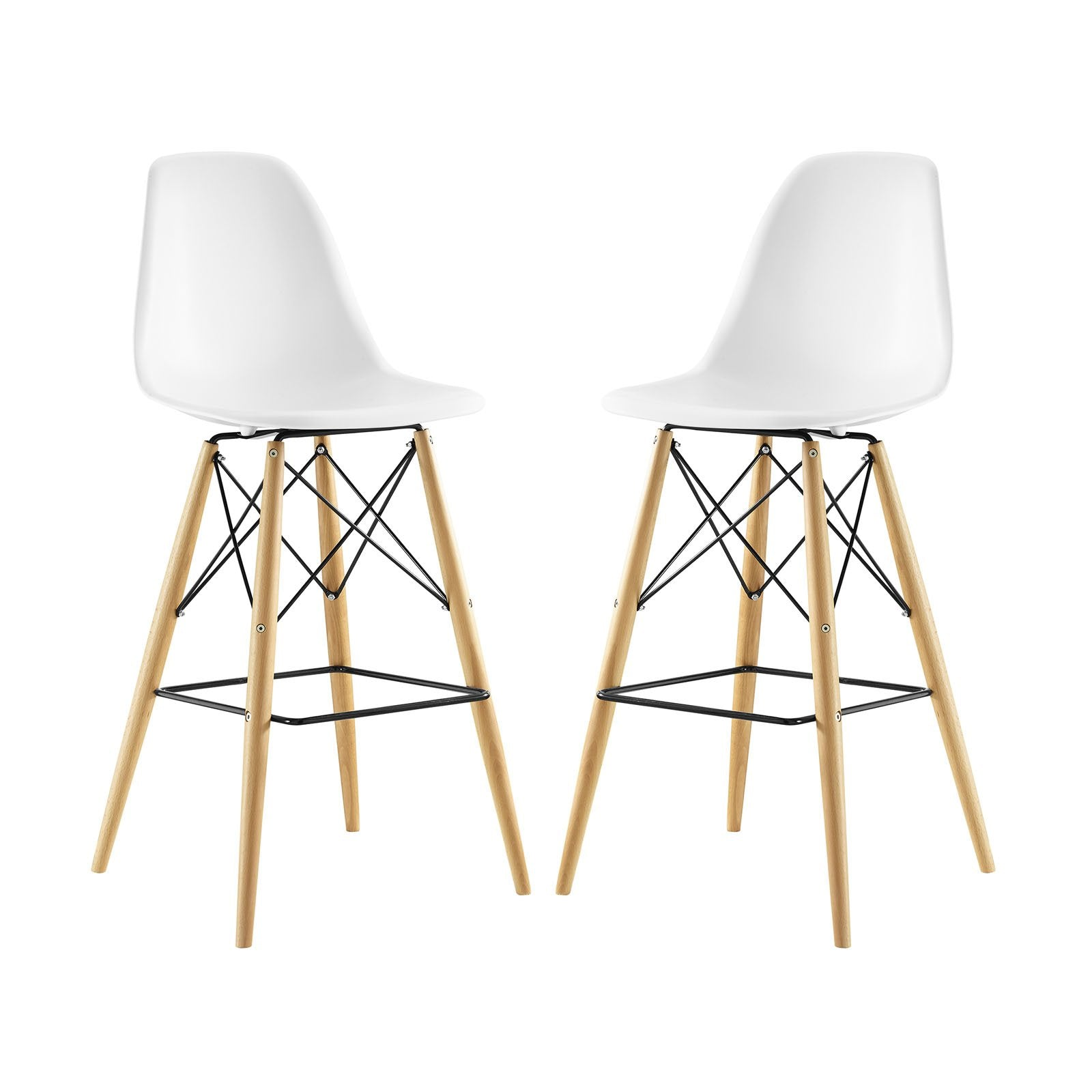 East End Imports Pyramid Dining Side Bar Stool Set of 2 in White