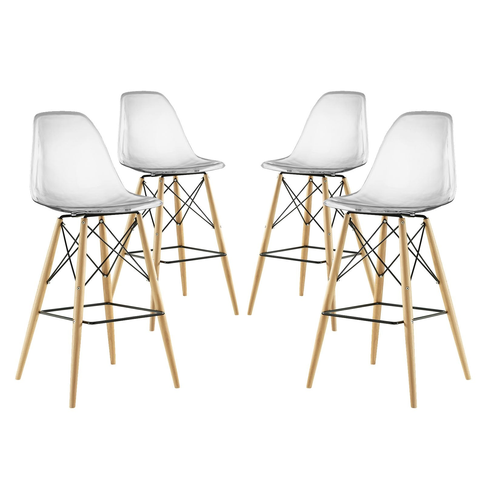 East End Imports Pyramid Dining Side Bar Stool Set of 4 in Clear