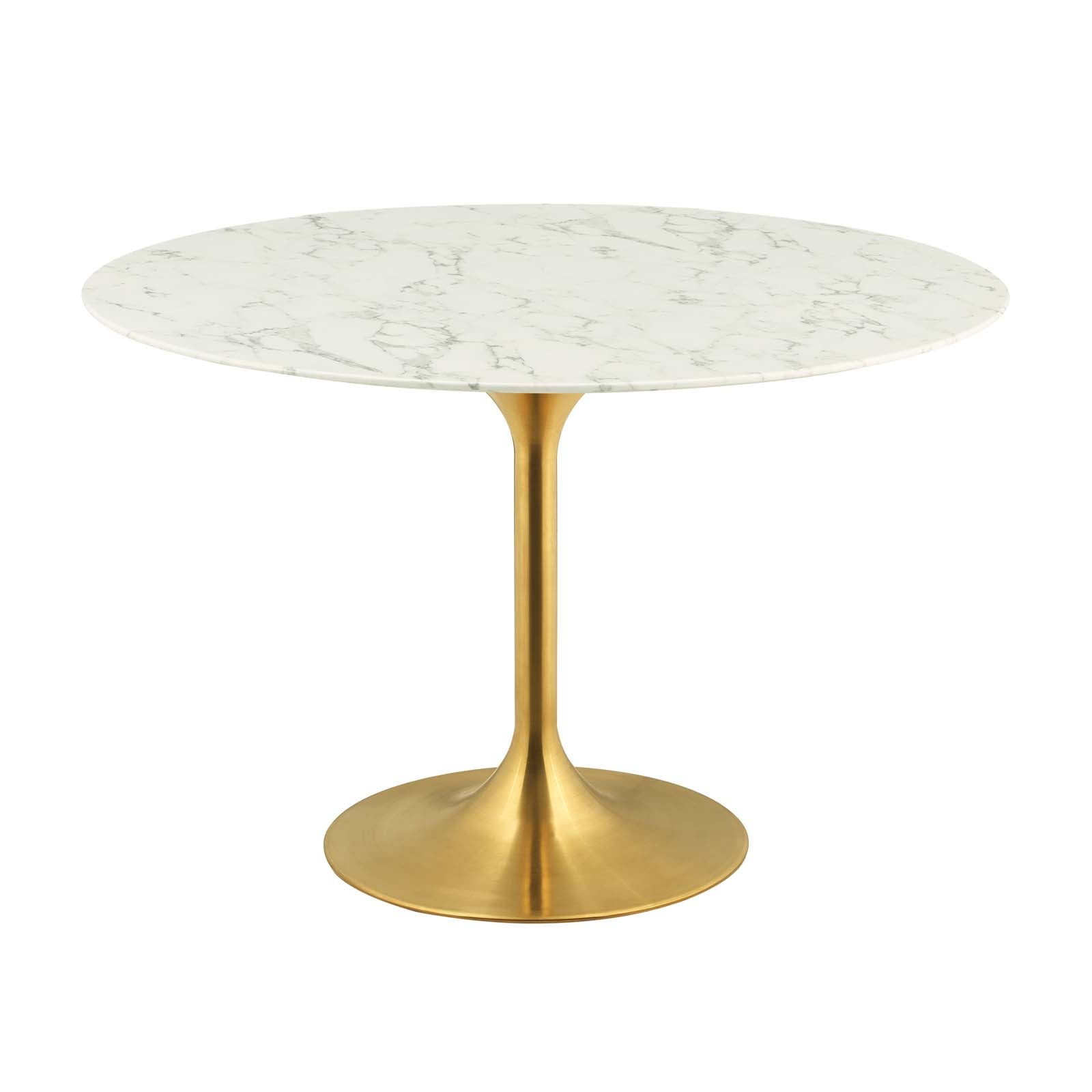 "Modway Lippa 47"" Round Artificial Marble Dining Table in Gold White"