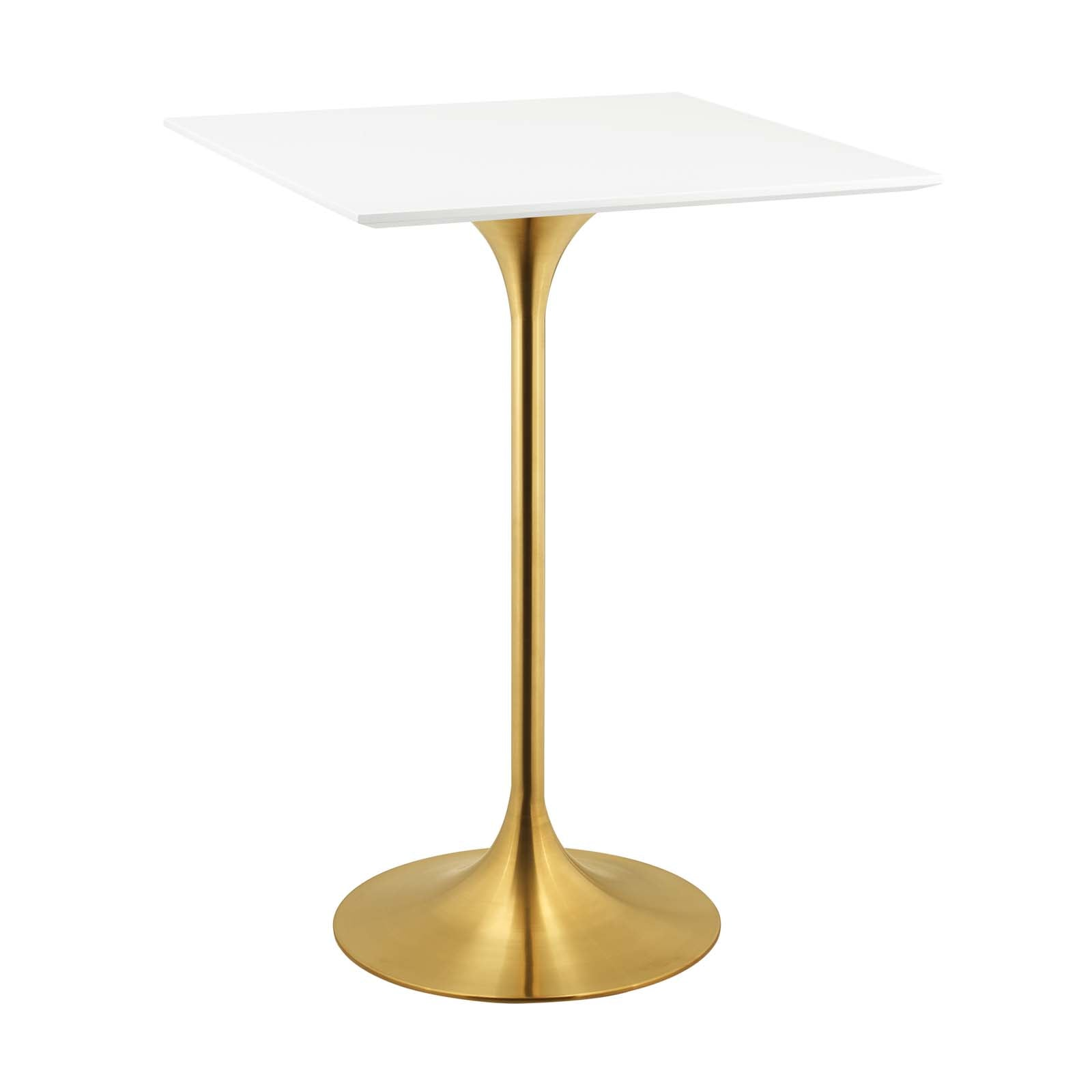 "Modway Lippa 28"" Square Wood Top Bar Table in Gold White"