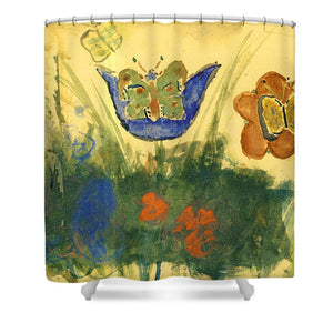 Children Paintings In The Terezin Theresienstadt Ghetto - Shower Curtain