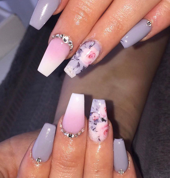Full Cover - Grey & Pink Floral