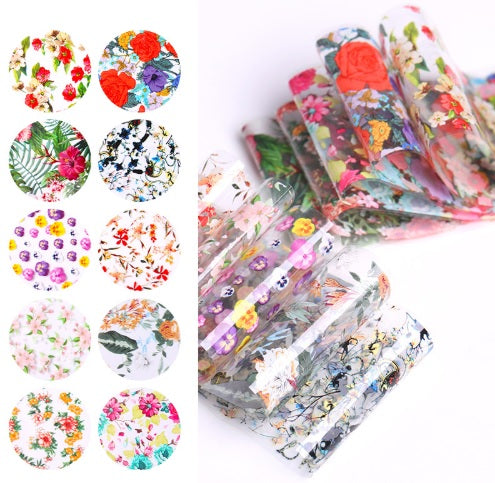 10 Sheets Nail Transfer Foil - Tropical Flowers