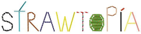 Strawtopia name spelled out from different color and style paper straws