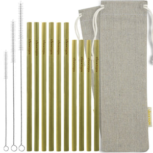 Organic Bamboo Straws with Cases (Hand Crafted) - Reusable Sustainable Biodegradable and Eco-Friendly Alternative to Drinking with Plastic Straws - 15 Pc Set (7.7 and 9.1 inches) — STRAWTOPIA