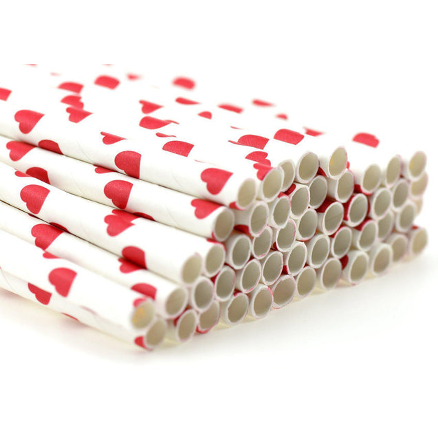 Red Heart Shape  Paper Straws Biodegradable and Compostable - STRAWTOPIA