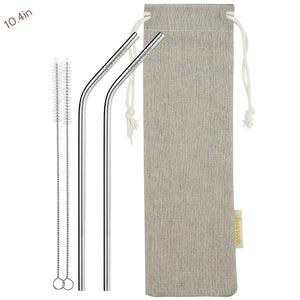 2 Bendy (10.4 inches) Reusable Stainless Steel Metal Straws with Cleaning Brushes  — STRAWTOPIA