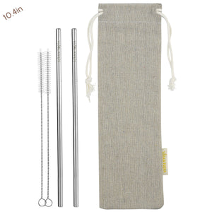 2 Straight (10.4 inches) Reusable Stainless Steel Metal Straws with Cleaning Brushes  — STRAWTOPIA
