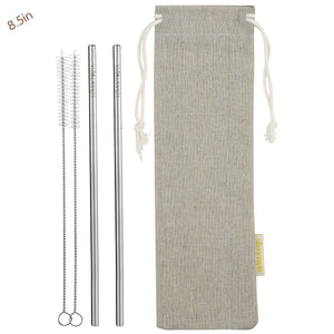 2 Straight (8.5 inches) Reusable Stainless Steel Metal Straws with Cleaning Brushes — STRAWTOPIA