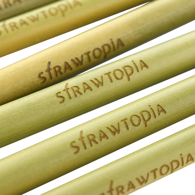 2 bamboo straws 9.1 inches with Strawtopia logo