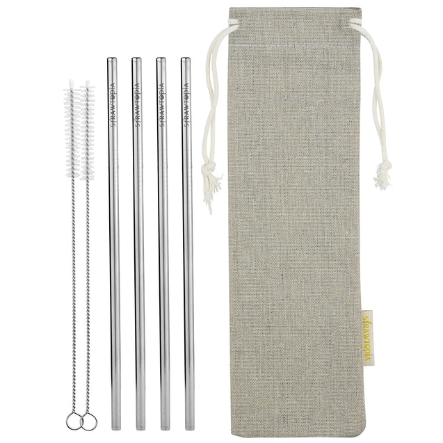 4 Straight Reusable Stainless Steel Metal Straws with Cleaning Brushes (10.4 inches) — STRAWTOPIA