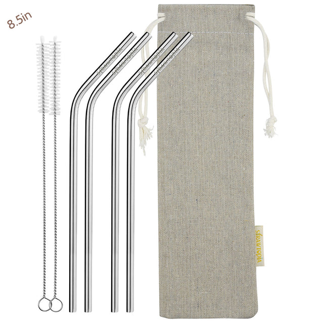 4 bendy metal straw 2 cleaning brushes_strawtopia