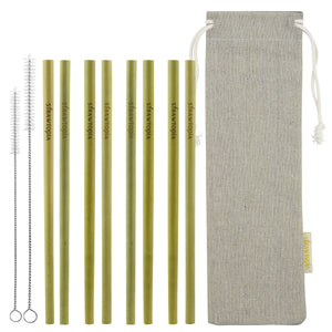 8 Strawtopia Bamboo Straws 7.7 inches + 2 cleaning brushes + burlap storage bag