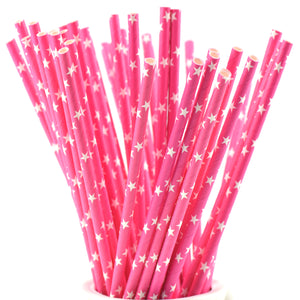Magenta Pink with White Stars Paper Straws Biodegradable and Compostable - STRAWTOPIA
