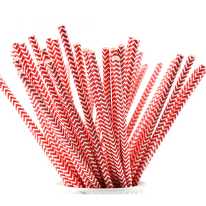 Vivid Red | White Chevron Paper Straws Biodegradable and Compostable - STRAWTOPIA