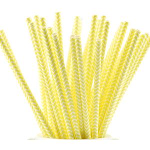 Yellow | White Chevron Paper Straws Biodegradable and Compostable - STRAWTOPIA