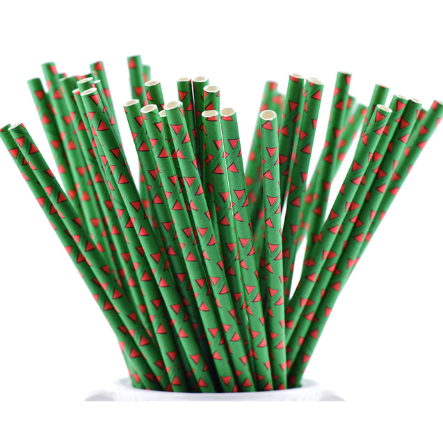 Green | Red Triangle Paper Straws Biodegradable and Compostable - STRAWTOPIA