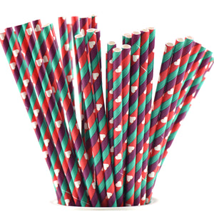 Purple Green Red Striped with White hearts Paper Straws — STRAWTOPIA - STRAWTOPIA
