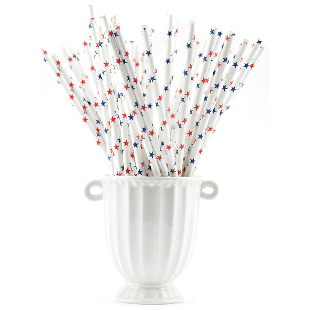 Red|Blue Stars Paper Straws Biodegradable and Compostable - STRAWTOPIA