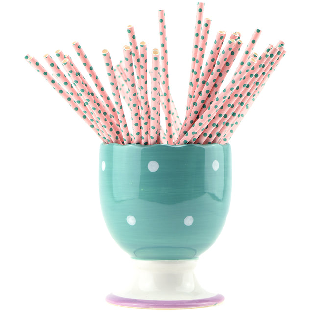 Light Pink with Green Dots Paper Straws -  STRAWTOPIA - STRAWTOPIA
