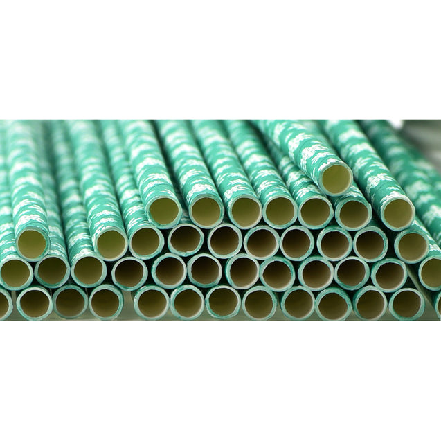 Turquoise with White Snowflakes Paper Straws Biodegradable and Compostable - STRAWTOPIA