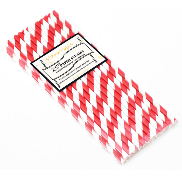 Red and White Striped Paper Straws — STRAWTOPIA - STRAWTOPIA