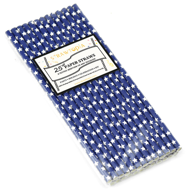 Deep Blue with White Stars Paper Straws — STRAWTOPIA - STRAWTOPIA