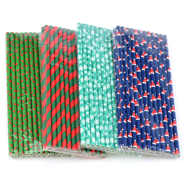 Christmas Set Paper Straws Biodegradable and Compostable - STRAWTOPIA