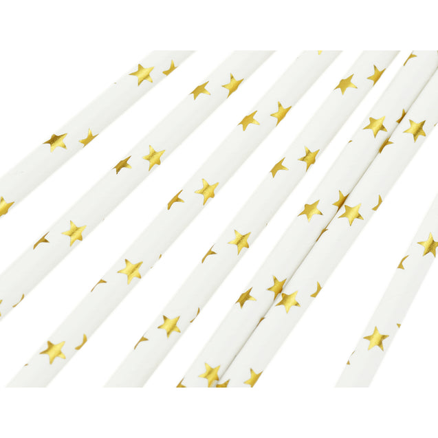 Metallic Golden Stars on White Paper Straws - STRAWTOPIA - STRAWTOPIA