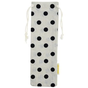 Handmade Drawstring Case Holder Black Polka Dots_Strawtopia