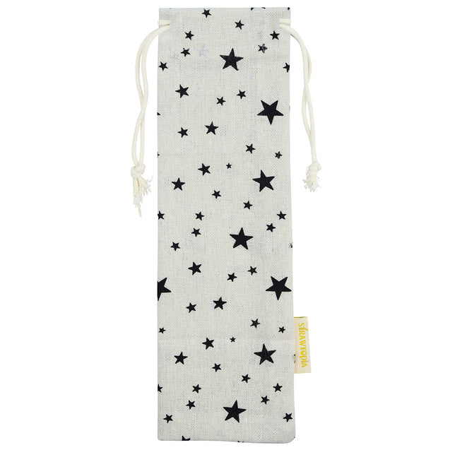 Handmade Drawstring Straw Case_with black stars by strawtopia