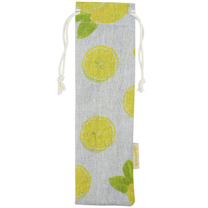 Handmade Drawstring Straws Case lemon design_Strawtopia
