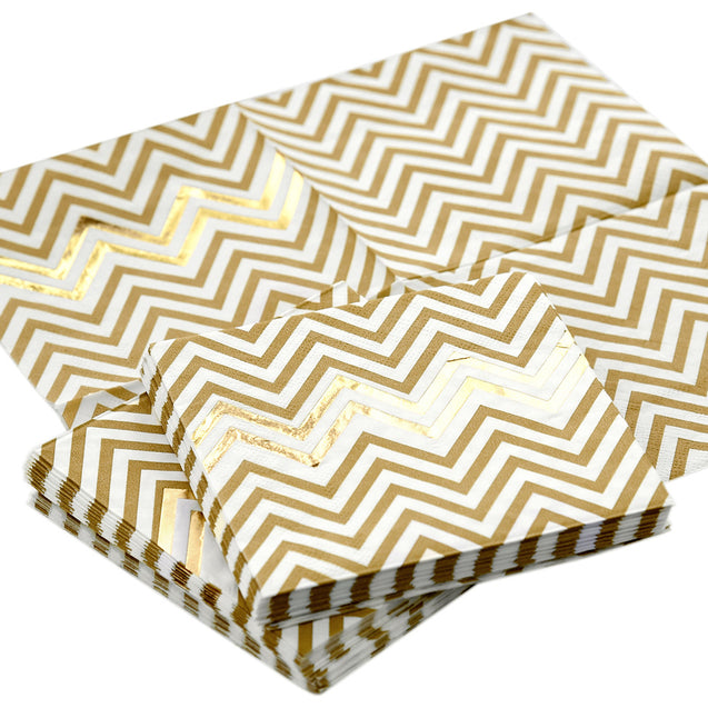 Gold Chevron Style Party Paper Napkins — STRAWTOPIA