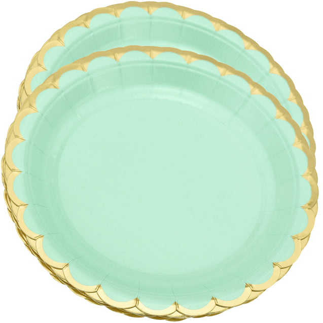 7'' Mint Green with Gold Accent Floral Edge Party Paper Plates — STRAWTOPIA