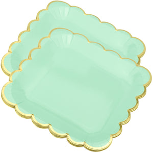8'' Mint Green with Gold Accent Floral Edge Square Party Paper Plates